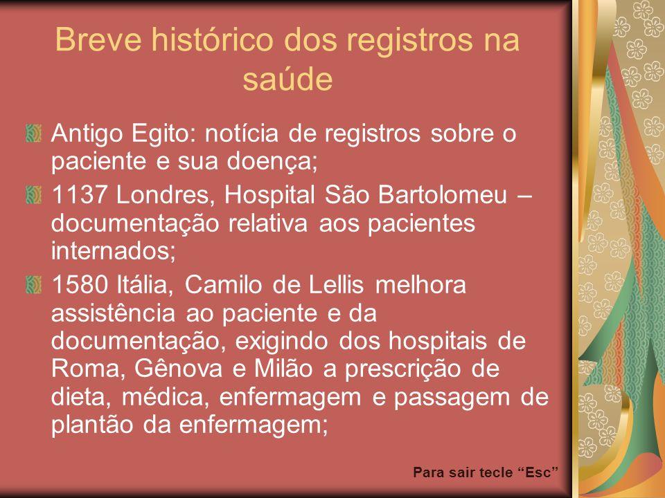 Para sair tecle Esc Breve histórico dos registros na saúde Antigo Egito: notícia de registros sobre o paciente e sua doença; 1137 Londres, Hospital Sã