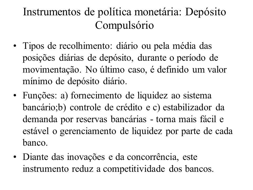 Instrumentos de política monetária: Depósito Compulsório Tipos de recolhimento: diário ou pela média das posições diárias de depósito, durante o perío