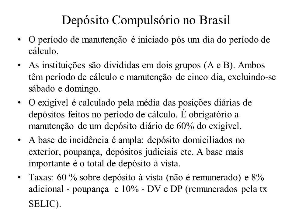Depósito Compulsório no Brasil O período de manutenção é iniciado pós um dia do período de cálculo. As instituições são divididas em dois grupos (A e