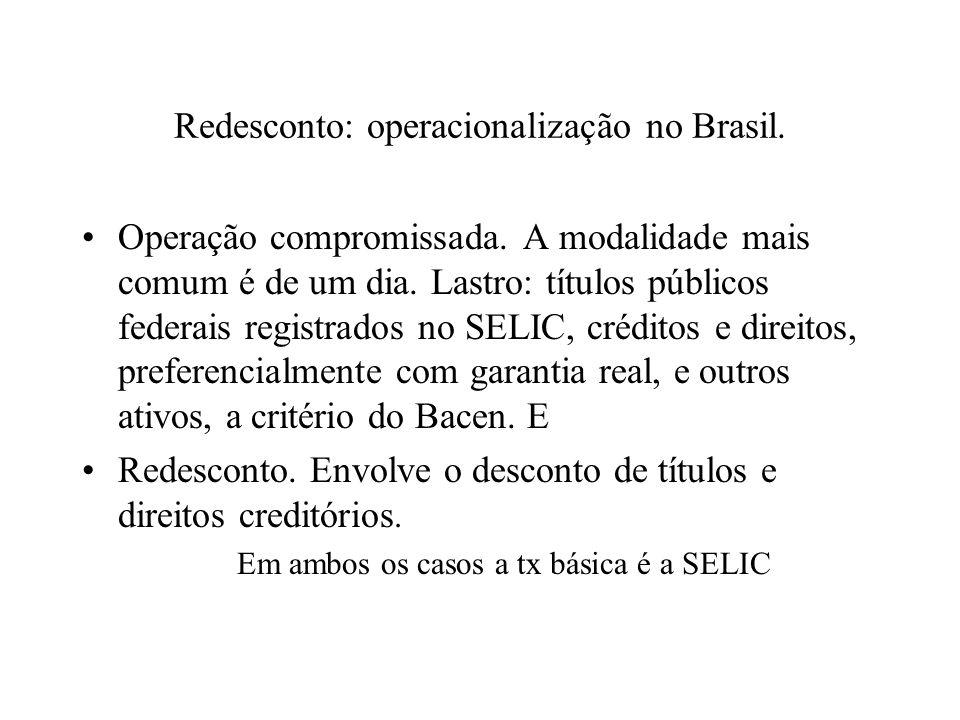 Redesconto: operacionalização no Brasil. Operação compromissada. A modalidade mais comum é de um dia. Lastro: títulos públicos federais registrados no