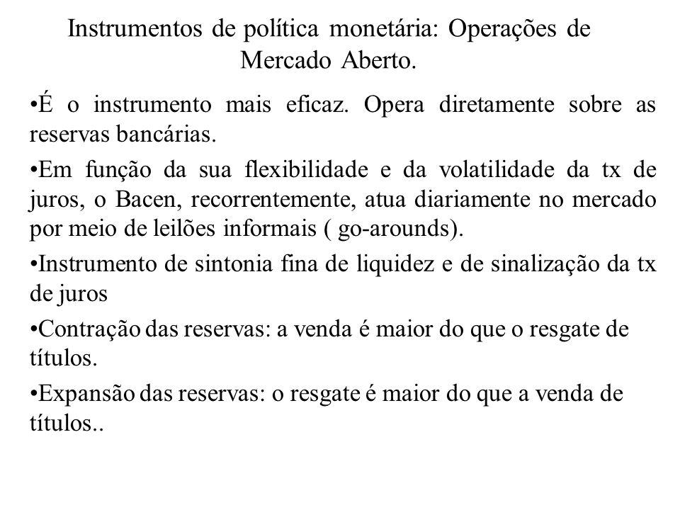Instrumentos de política monetária: Operações de Mercado Aberto. É o instrumento mais eficaz. Opera diretamente sobre as reservas bancárias. Em função