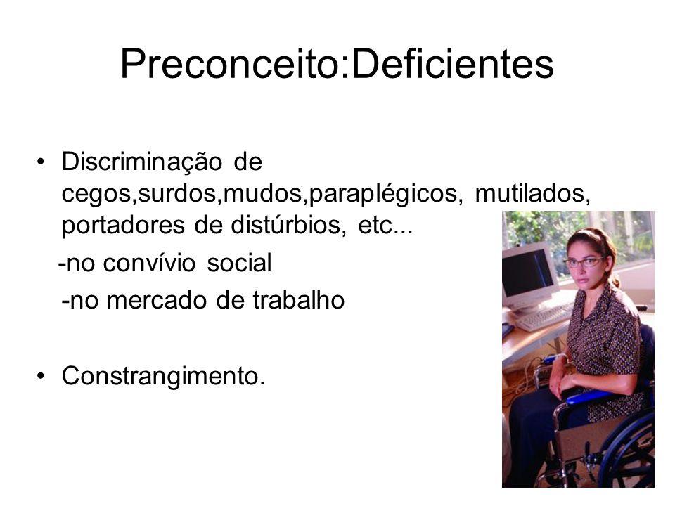 Preconceito:Deficientes Discriminação de cegos,surdos,mudos,paraplégicos, mutilados, portadores de distúrbios, etc... -no convívio social -no mercado