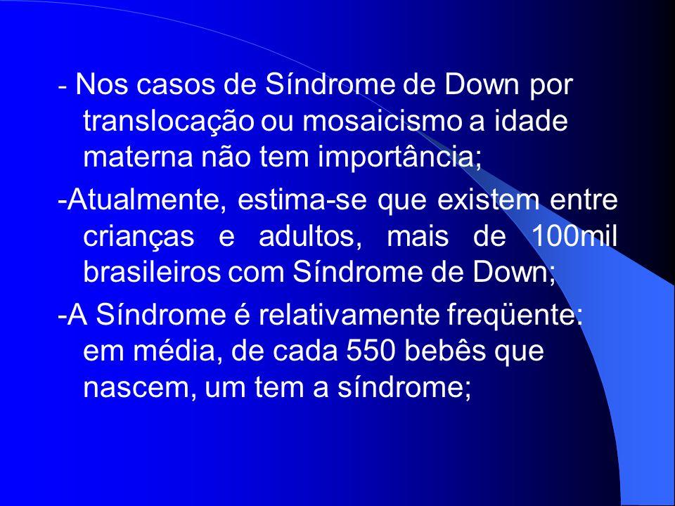 - Nos casos de Síndrome de Down por translocação ou mosaicismo a idade materna não tem importância; -Atualmente, estima-se que existem entre crianças