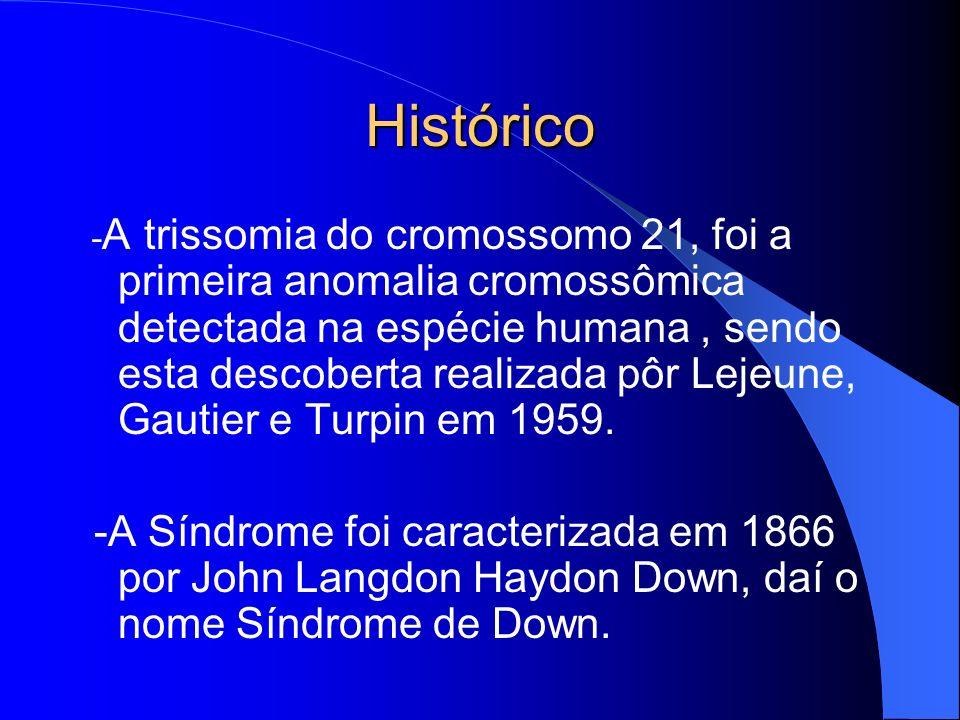Histórico - A trissomia do cromossomo 21, foi a primeira anomalia cromossômica detectada na espécie humana, sendo esta descoberta realizada pôr Lejeun