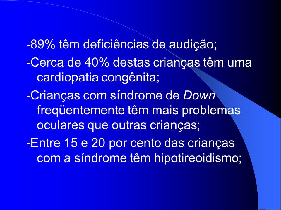 - 89% têm deficiências de audição; -Cerca de 40% destas crianças têm uma cardiopatia congênita; -Crianças com síndrome de Down freqüentemente têm mais