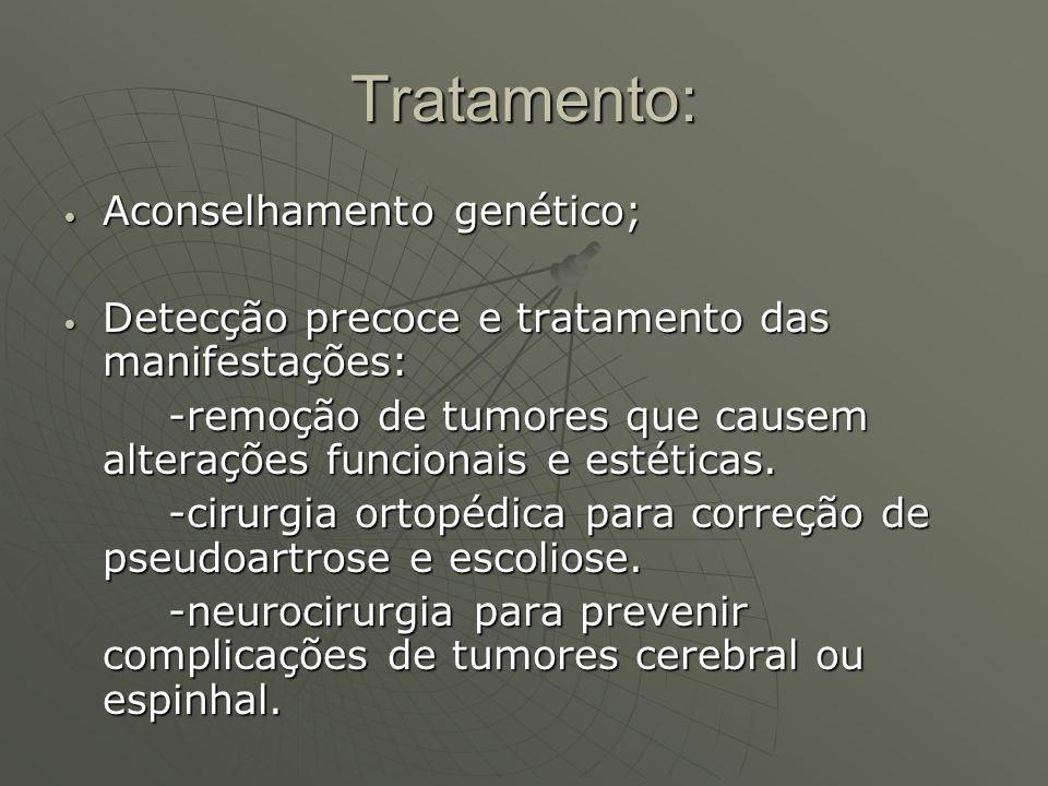Tratamento: Aconselhamento genético; Aconselhamento genético; Detecção precoce e tratamento das manifestações: Detecção precoce e tratamento das manif
