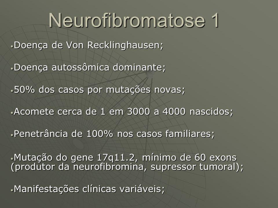 Neurofibromatose 1 Doença de Von Recklinghausen; Doença de Von Recklinghausen; Doença autossômica dominante; Doença autossômica dominante; 50% dos cas