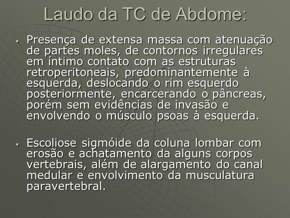 Laudo da TC de Abdome: Presença de extensa massa com atenuação de partes moles, de contornos irregulares em íntimo contato com as estruturas retroperi