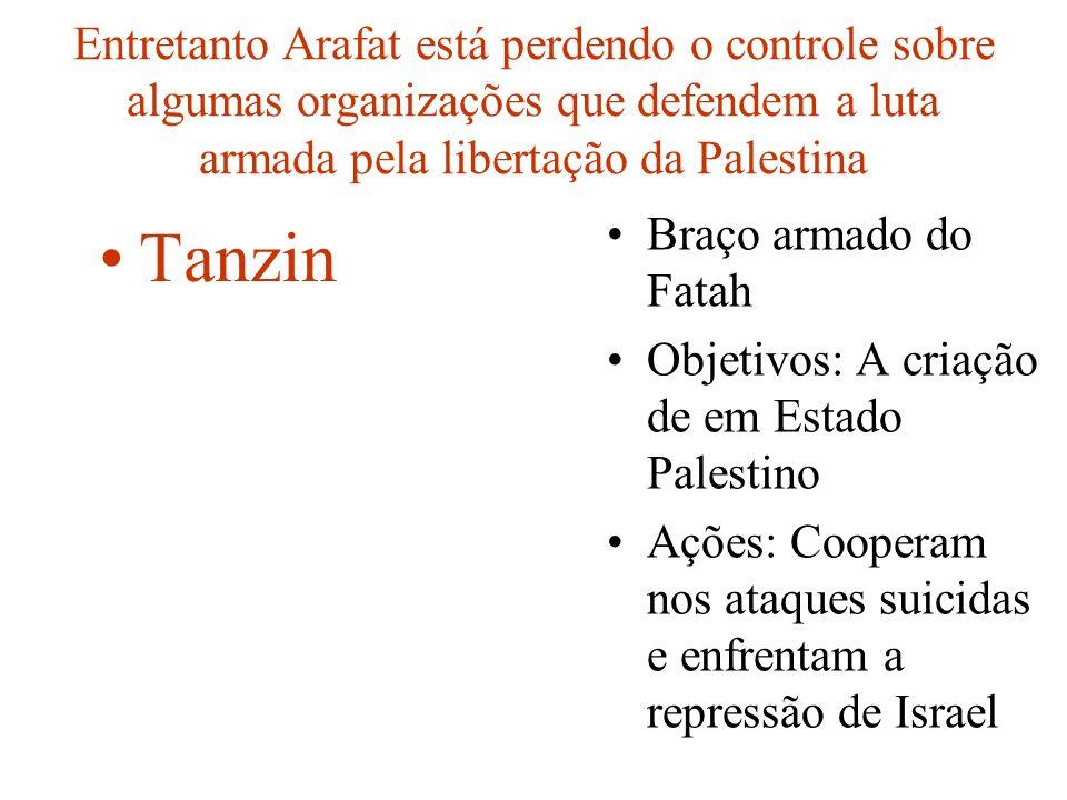 Entretanto Arafat está perdendo o controle sobre algumas organizações que defendem a luta armada pela libertação da Palestina Braço armado do Fatah Ob