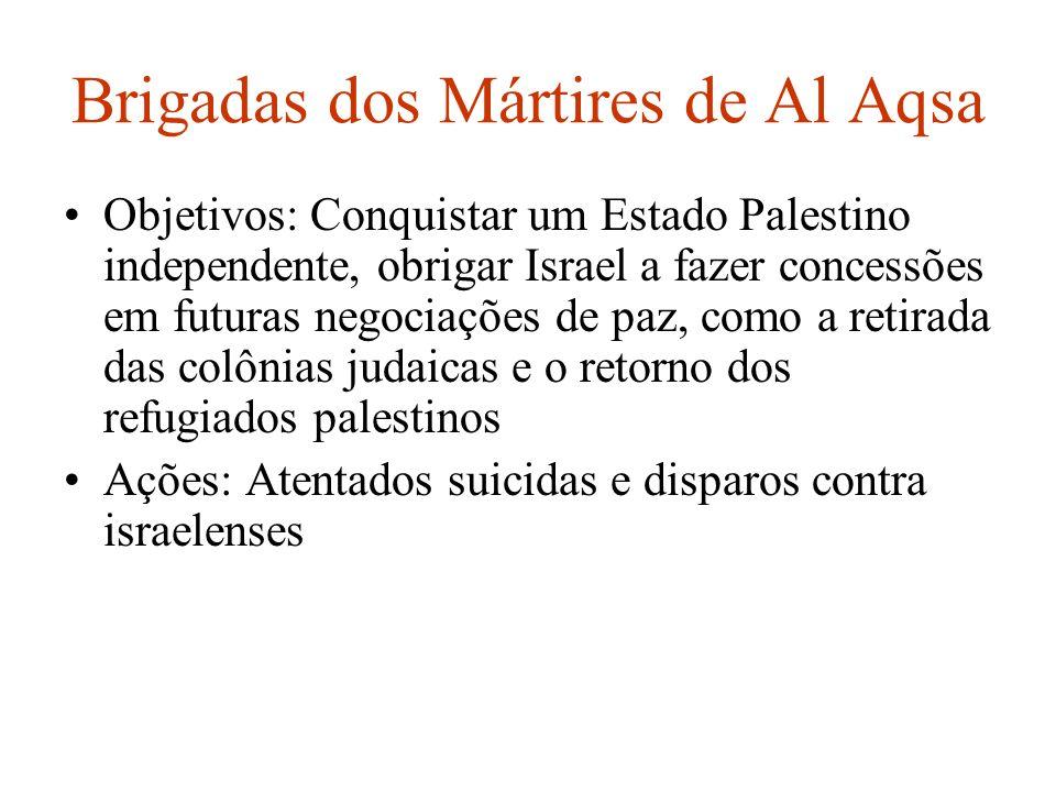 Brigadas dos Mártires de Al Aqsa Objetivos: Conquistar um Estado Palestino independente, obrigar Israel a fazer concessões em futuras negociações de p