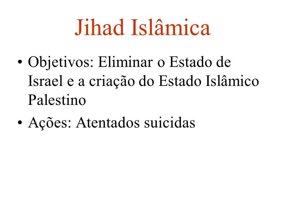 Jihad Islâmica Objetivos: Eliminar o Estado de Israel e a criação do Estado Islâmico Palestino Ações: Atentados suicidas