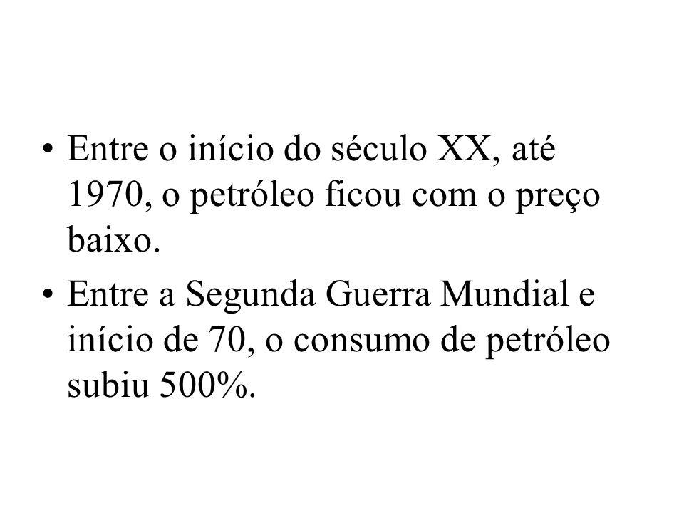 Entre o início do século XX, até 1970, o petróleo ficou com o preço baixo. Entre a Segunda Guerra Mundial e início de 70, o consumo de petróleo subiu