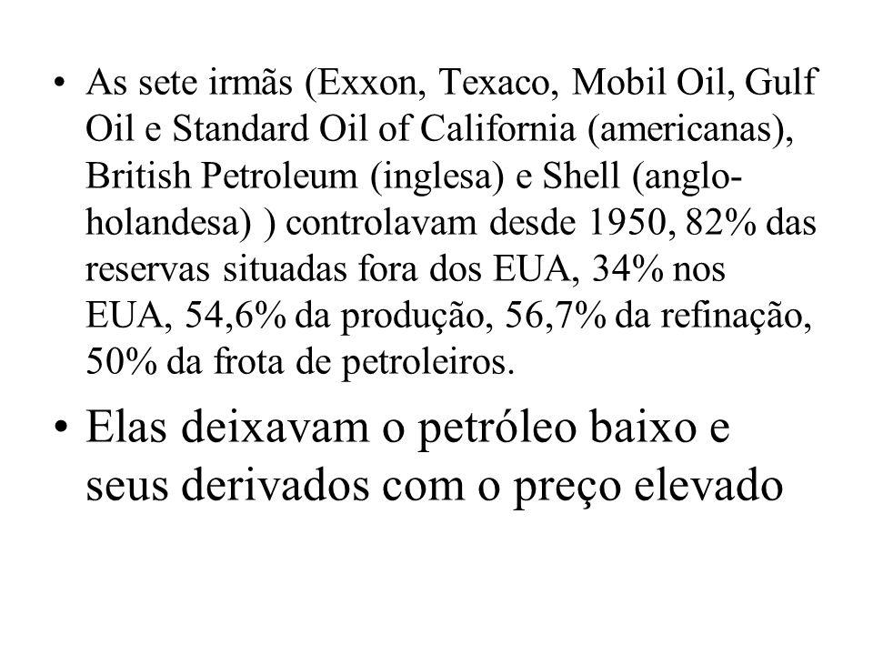 As sete irmãs (Exxon, Texaco, Mobil Oil, Gulf Oil e Standard Oil of California (americanas), British Petroleum (inglesa) e Shell (anglo- holandesa) )