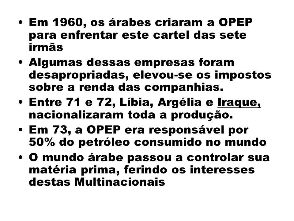Em 1960, os árabes criaram a OPEP para enfrentar este cartel das sete irmãs Algumas dessas empresas foram desapropriadas, elevou-se os impostos sobre