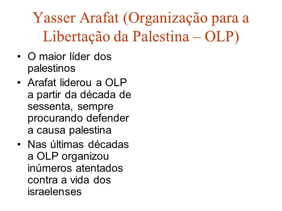Yasser Arafat (Organização para a Libertação da Palestina – OLP) O maior líder dos palestinos Arafat liderou a OLP a partir da década de sessenta, sem
