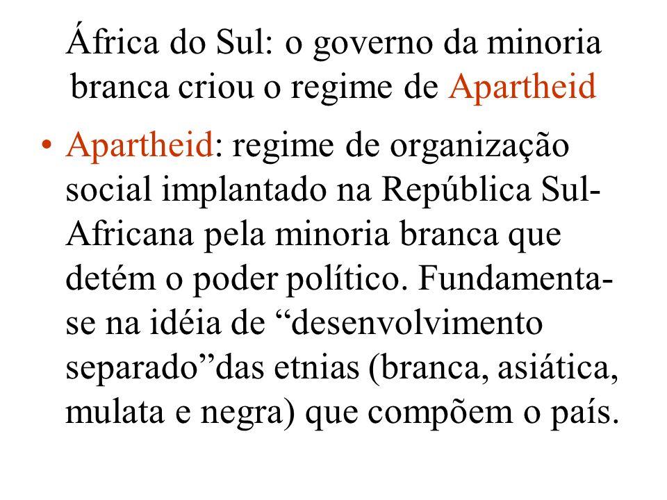 África do Sul: o governo da minoria branca criou o regime de Apartheid Apartheid: regime de organização social implantado na República Sul- Africana p