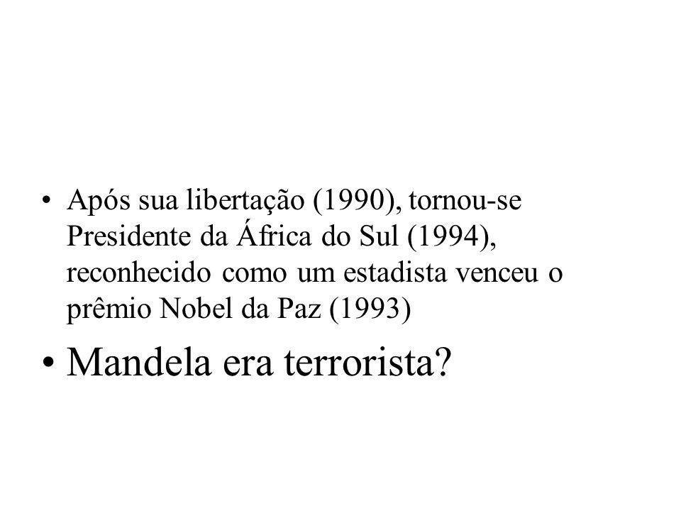 Após sua libertação (1990), tornou-se Presidente da África do Sul (1994), reconhecido como um estadista venceu o prêmio Nobel da Paz (1993) Mandela er