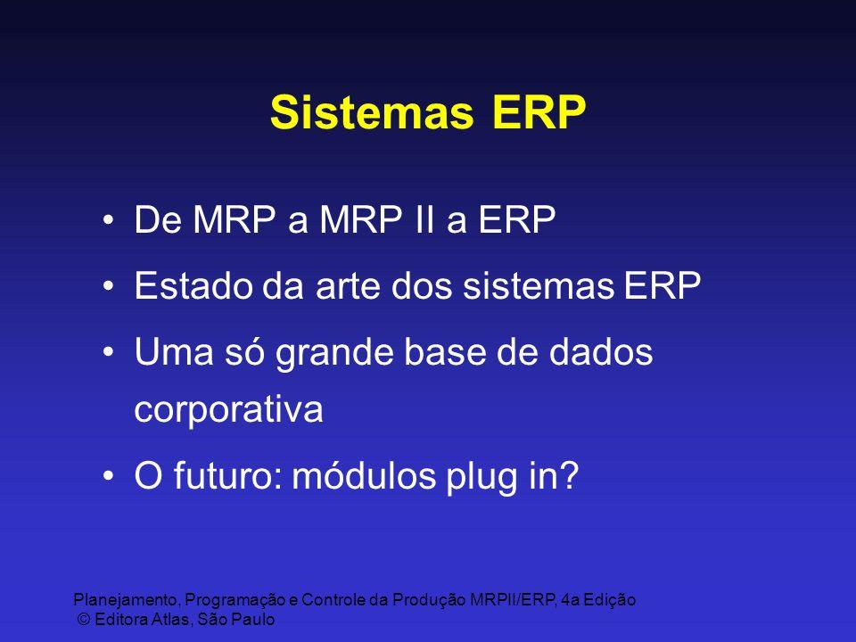 Planejamento, Programação e Controle da Produção MRPII/ERP, 4a Edição © Editora Atlas, São Paulo Sistemas ERP De MRP a MRP II a ERP Estado da arte dos