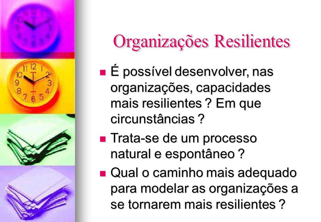 É possível desenvolver, nas organizações, capacidades mais resilientes ? Em que circunstâncias ? É possível desenvolver, nas organizações, capacidades