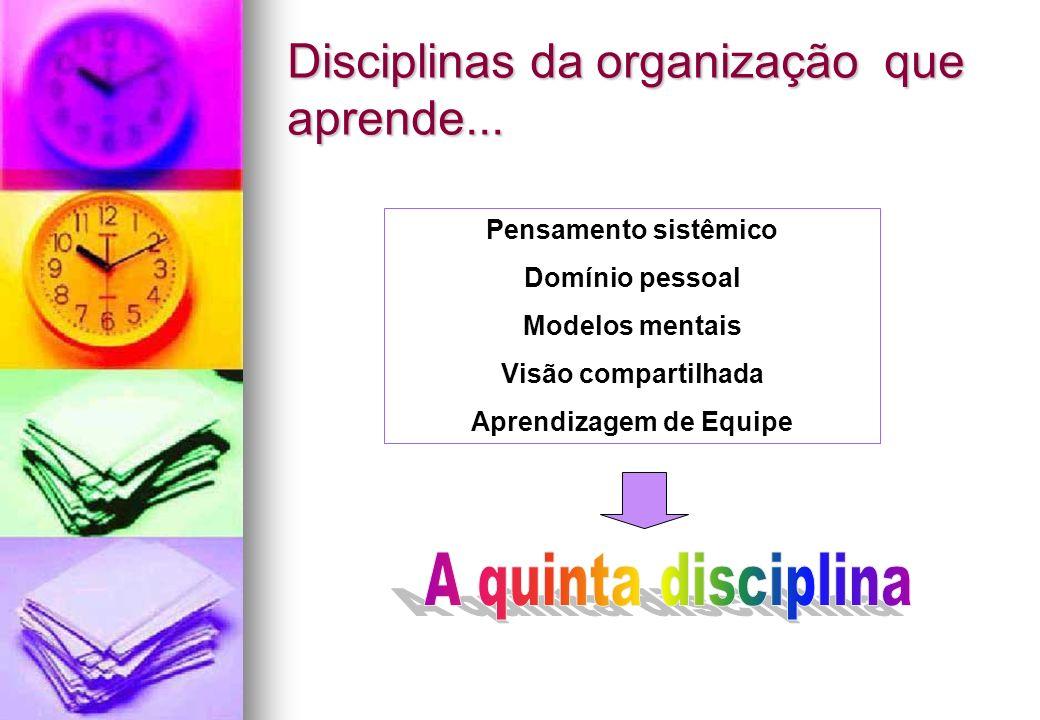 Disciplinas da organização que aprende... Pensamento sistêmico Domínio pessoal Modelos mentais Visão compartilhada Aprendizagem de Equipe