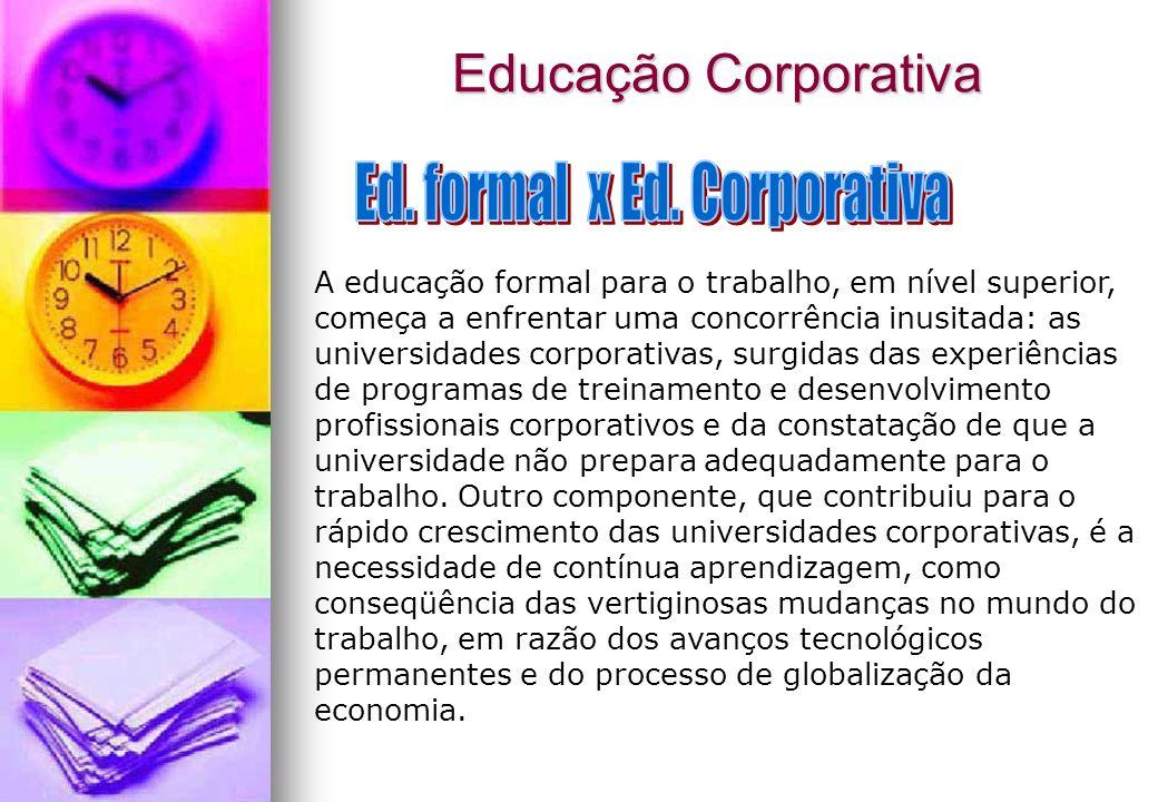 Educação Corporativa A educação formal para o trabalho, em nível superior, começa a enfrentar uma concorrência inusitada: as universidades corporativa