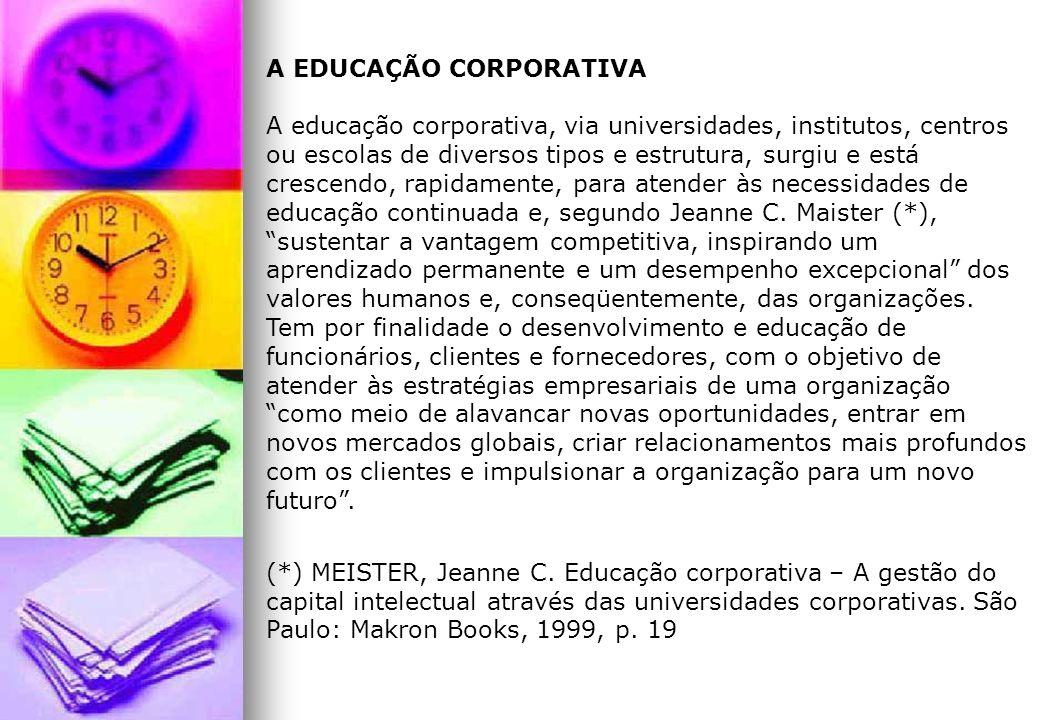 A EDUCAÇÃO CORPORATIVA A educação corporativa, via universidades, institutos, centros ou escolas de diversos tipos e estrutura, surgiu e está crescend