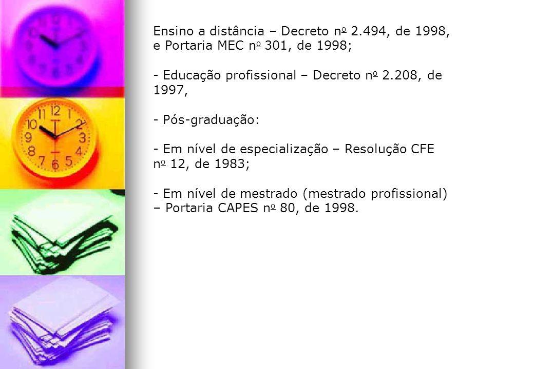Ensino a distância – Decreto n o 2.494, de 1998, e Portaria MEC n o 301, de 1998; - Educação profissional – Decreto n o 2.208, de 1997, - Pós-graduaçã