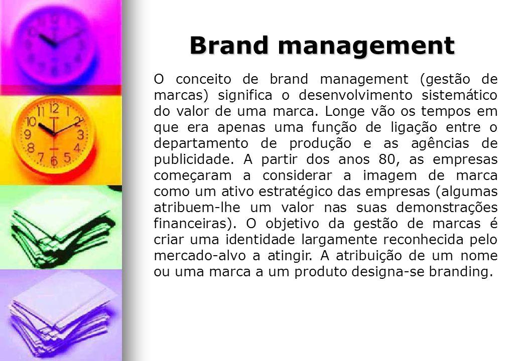 Brand management O conceito de brand management (gestão de marcas) significa o desenvolvimento sistemático do valor de uma marca. Longe vão os tempos