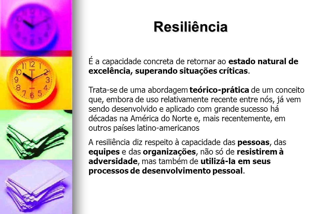 Resiliência É a capacidade concreta de retornar ao estado natural de excelência, superando situações críticas. Trata-se de uma abordagem teórico-práti