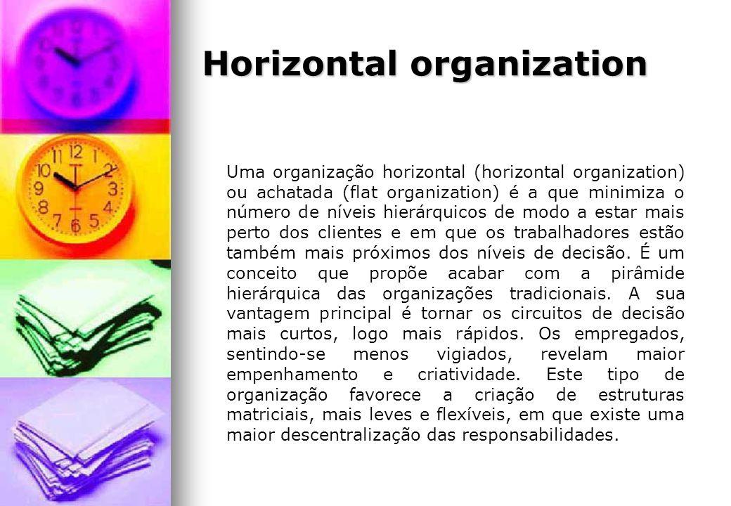 Horizontal organization Uma organização horizontal (horizontal organization) ou achatada (flat organization) é a que minimiza o número de níveis hierá