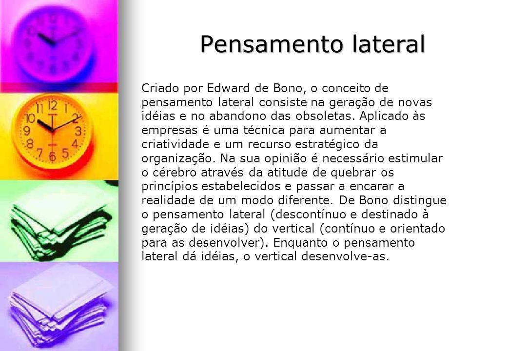 Pensamento lateral Criado por Edward de Bono, o conceito de pensamento lateral consiste na geração de novas idéias e no abandono das obsoletas. Aplica