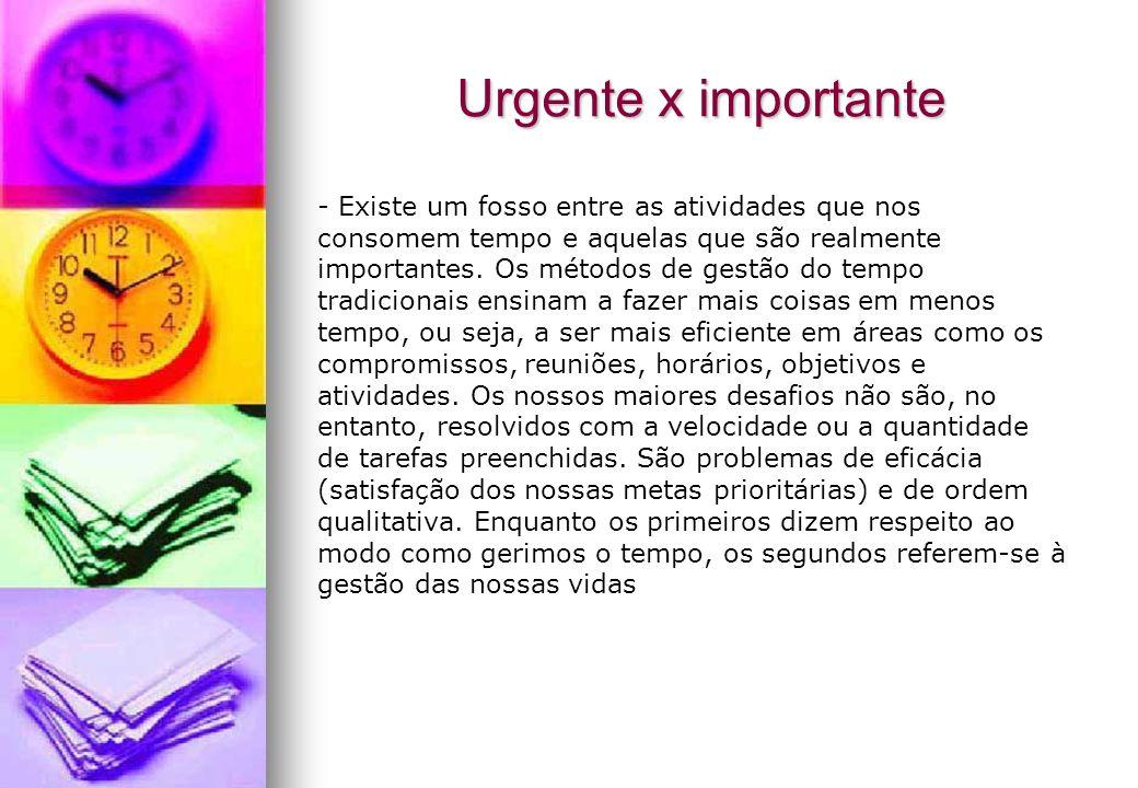Urgente x importante - Existe um fosso entre as atividades que nos consomem tempo e aquelas que são realmente importantes. Os métodos de gestão do tem