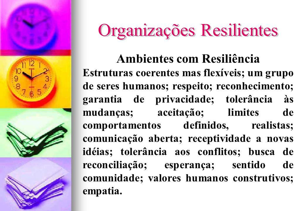 Ambientes com Resiliência Estruturas coerentes mas flexíveis; um grupo de seres humanos; respeito; reconhecimento; garantia de privacidade; tolerância
