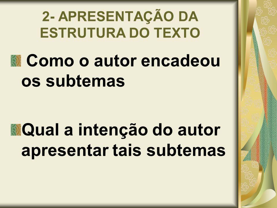 2- APRESENTAÇÃO DA ESTRUTURA DO TEXTO Como o autor encadeou os subtemas Qual a intenção do autor apresentar tais subtemas