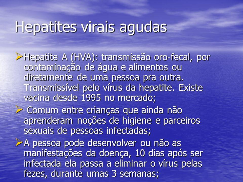 Hepatites virais agudas Hepatite A (HVA): transmissão oro-fecal, por contaminação de água e alimentos ou diretamente de uma pessoa pra outra. Transmis