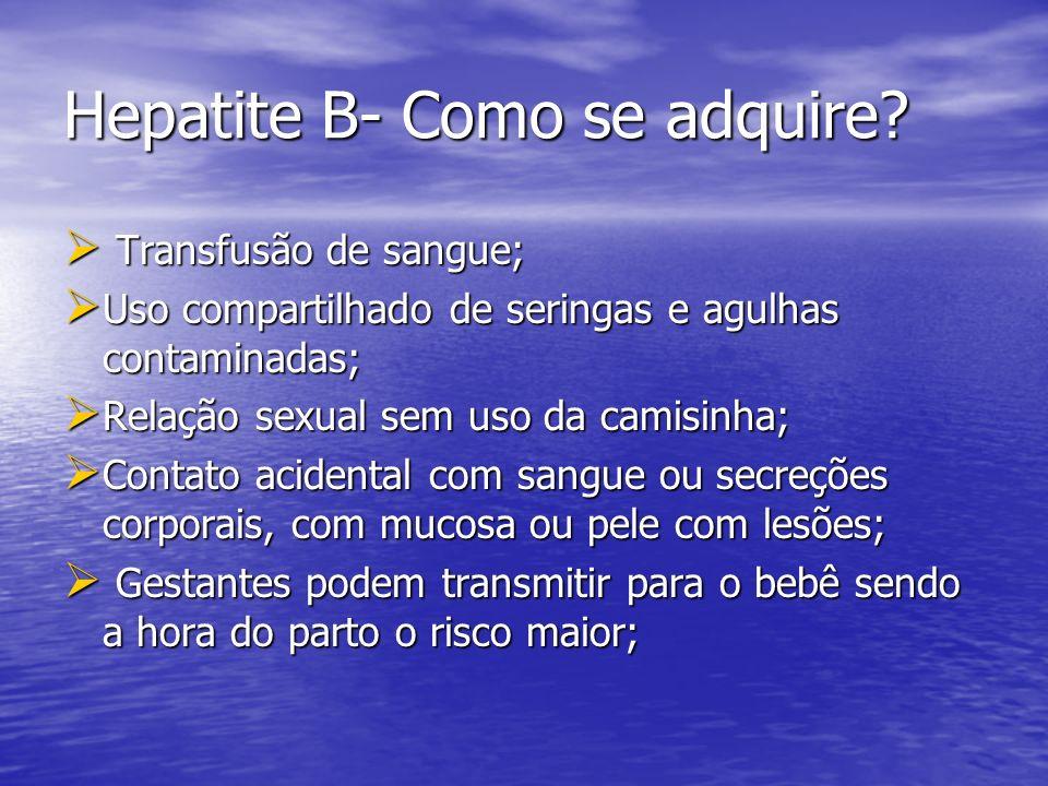 Hepatite B- Como se adquire? Transfusão de sangue; Transfusão de sangue; Uso compartilhado de seringas e agulhas contaminadas; Uso compartilhado de se