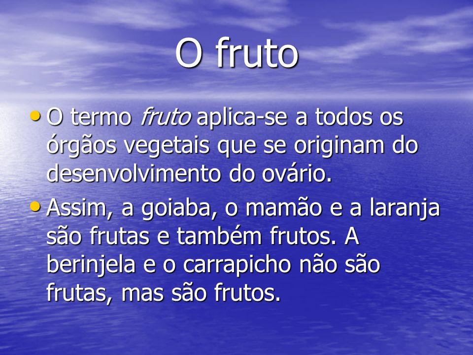 O fruto O termo fruto aplica-se a todos os órgãos vegetais que se originam do desenvolvimento do ovário. O termo fruto aplica-se a todos os órgãos veg