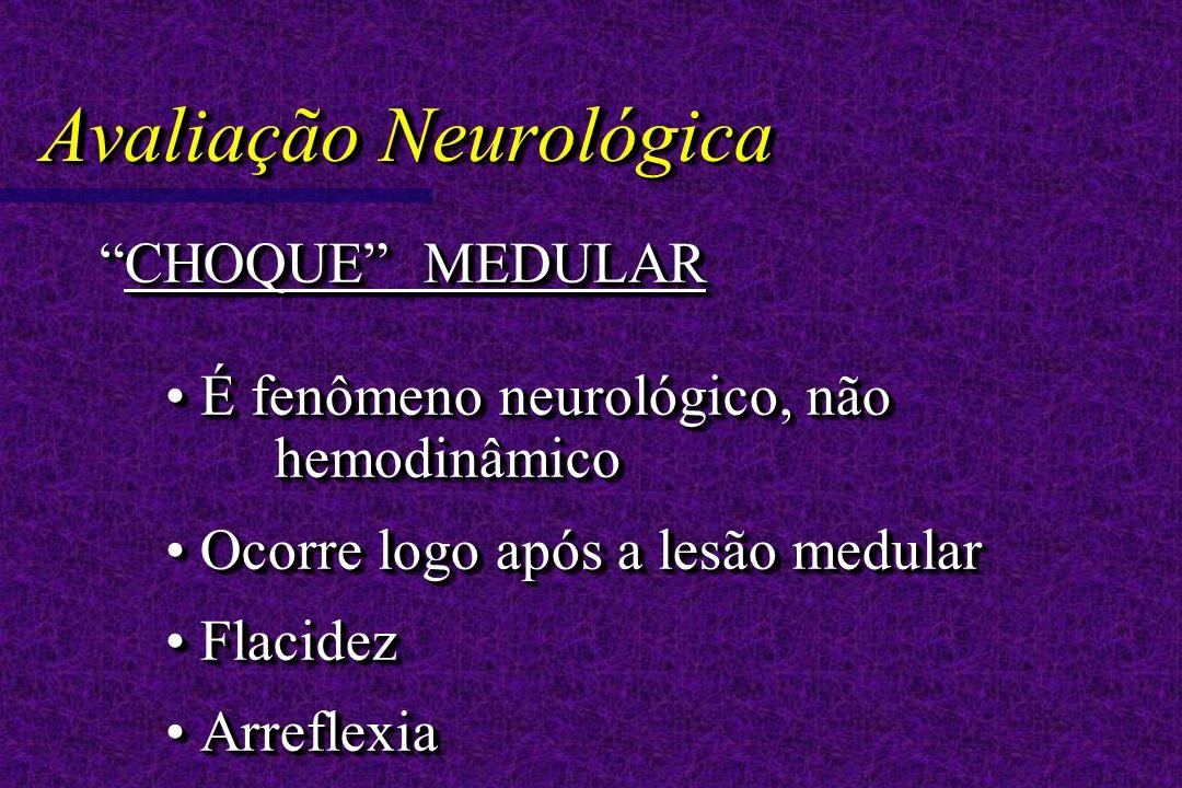 Avaliação Neurológica CHOQUE MEDULARCHOQUE MEDULAR É fenômeno neurológico, não hemodinâmico É fenômeno neurológico, não hemodinâmico Ocorre logo após a lesão medular Ocorre logo após a lesão medular Flacidez Flacidez Arreflexia Arreflexia CHOQUE MEDULARCHOQUE MEDULAR É fenômeno neurológico, não hemodinâmico É fenômeno neurológico, não hemodinâmico Ocorre logo após a lesão medular Ocorre logo após a lesão medular Flacidez Flacidez Arreflexia Arreflexia
