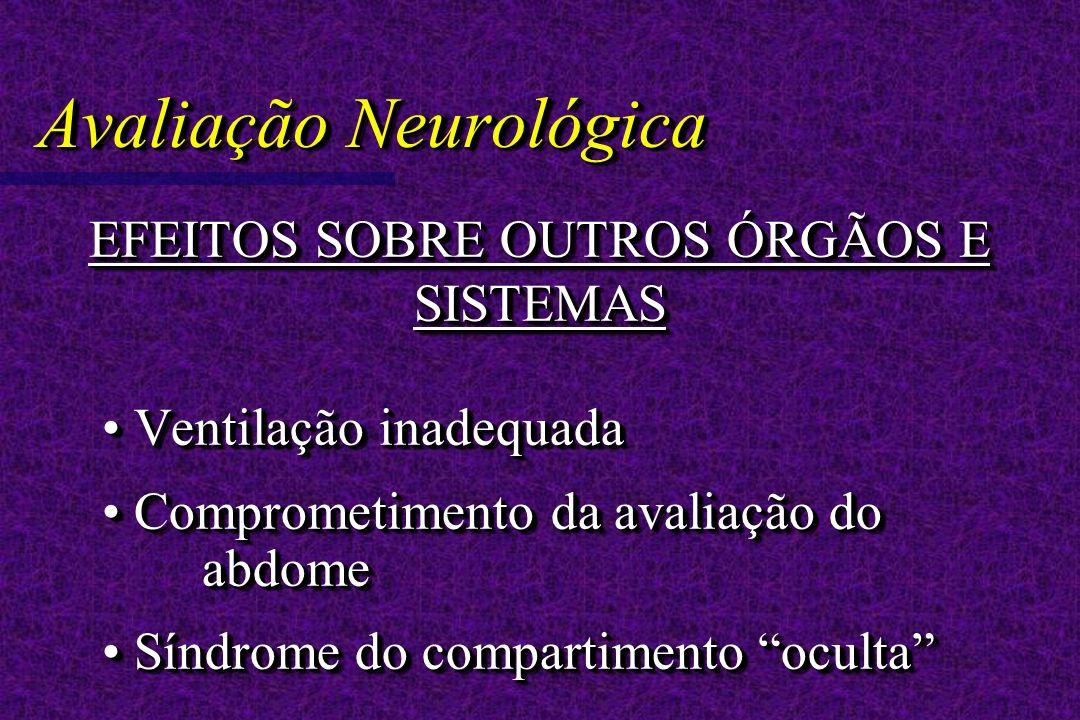 Avaliação Neurológica EFEITOS SOBRE OUTROS ÓRGÃOS E SISTEMAS Ventilação inadequada Ventilação inadequada Comprometimento da avaliação do abdome Comprometimento da avaliação do abdome Síndrome do compartimento oculta Síndrome do compartimento oculta EFEITOS SOBRE OUTROS ÓRGÃOS E SISTEMAS Ventilação inadequada Ventilação inadequada Comprometimento da avaliação do abdome Comprometimento da avaliação do abdome Síndrome do compartimento oculta Síndrome do compartimento oculta