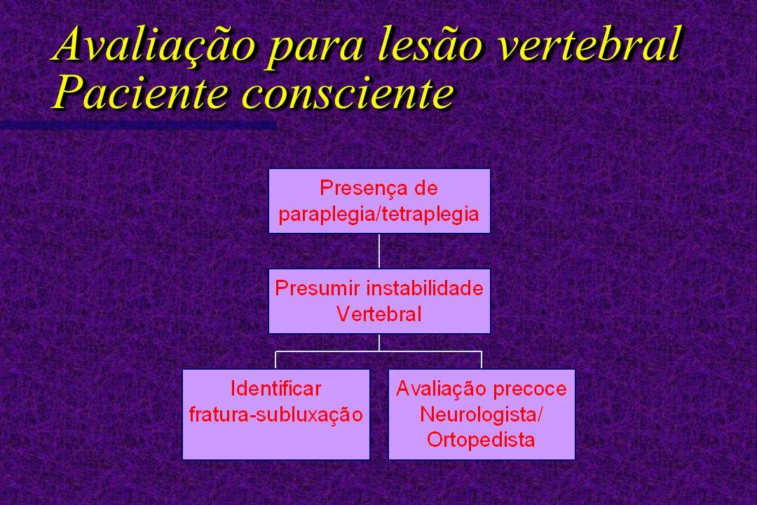 Avaliação para lesão vertebral Paciente consciente