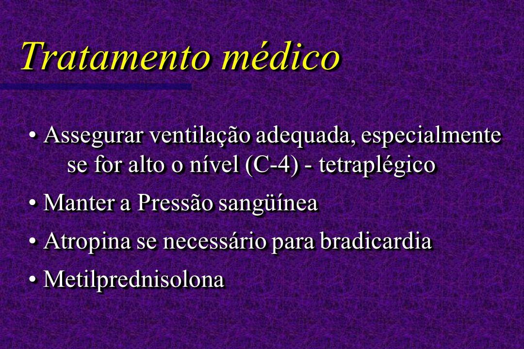 Tratamento médico Assegurar ventilação adequada, especialmente se for alto o nível (C-4) - tetraplégico Assegurar ventilação adequada, especialmente se for alto o nível (C-4) - tetraplégico Manter a Pressão sangüínea Manter a Pressão sangüínea Atropina se necessário para bradicardia Atropina se necessário para bradicardia Metilprednisolona Metilprednisolona Assegurar ventilação adequada, especialmente se for alto o nível (C-4) - tetraplégico Assegurar ventilação adequada, especialmente se for alto o nível (C-4) - tetraplégico Manter a Pressão sangüínea Manter a Pressão sangüínea Atropina se necessário para bradicardia Atropina se necessário para bradicardia Metilprednisolona Metilprednisolona