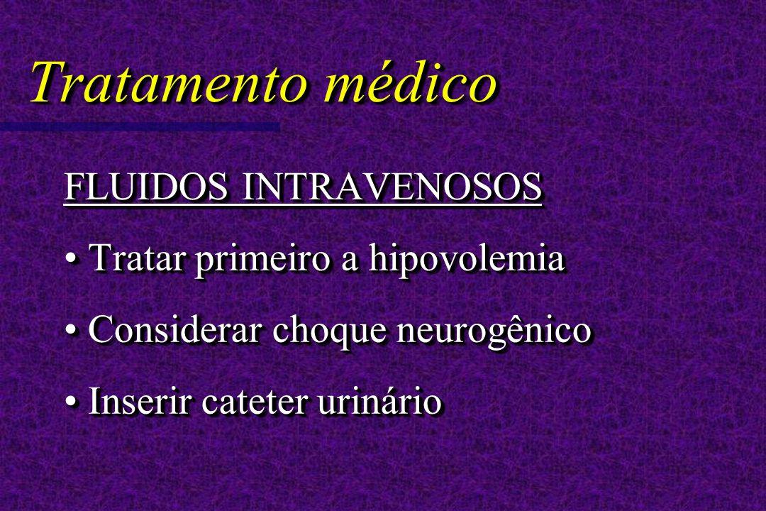 Tratamento médico FLUIDOS INTRAVENOSOS Tratar primeiro a hipovolemia Tratar primeiro a hipovolemia Considerar choque neurogênico Considerar choque neurogênico Inserir cateter urinário Inserir cateter urinário FLUIDOS INTRAVENOSOS Tratar primeiro a hipovolemia Tratar primeiro a hipovolemia Considerar choque neurogênico Considerar choque neurogênico Inserir cateter urinário Inserir cateter urinário