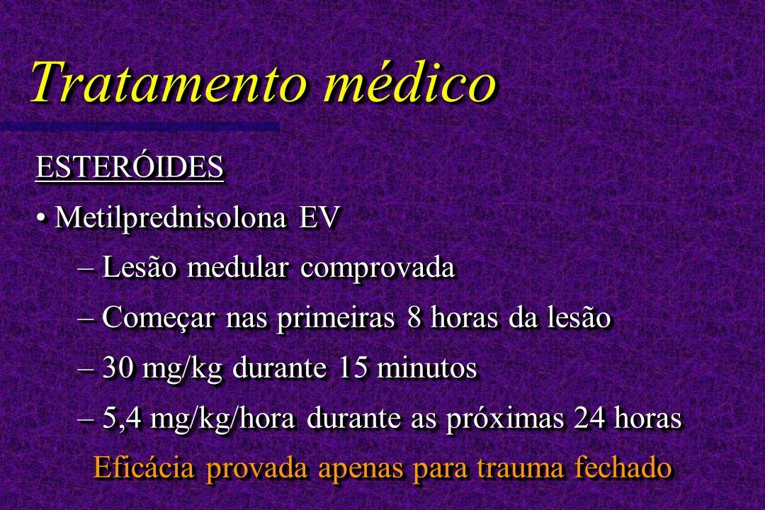 Tratamento médico ESTERÓIDES Metilprednisolona EV Metilprednisolona EV – Lesão medular comprovada – Começar nas primeiras 8 horas da lesão – 30 mg/kg durante 15 minutos – 5,4 mg/kg/hora durante as próximas 24 horas Eficácia provada apenas para trauma fechado ESTERÓIDES Metilprednisolona EV Metilprednisolona EV – Lesão medular comprovada – Começar nas primeiras 8 horas da lesão – 30 mg/kg durante 15 minutos – 5,4 mg/kg/hora durante as próximas 24 horas Eficácia provada apenas para trauma fechado