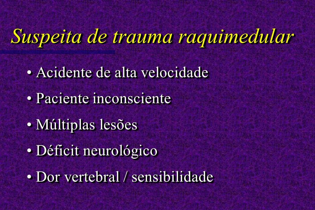 Suspeita de trauma raquimedular Acidente de alta velocidade Acidente de alta velocidade Paciente inconsciente Paciente inconsciente Múltiplas lesões Múltiplas lesões Déficit neurológico Déficit neurológico Dor vertebral / sensibilidade Dor vertebral / sensibilidade Acidente de alta velocidade Acidente de alta velocidade Paciente inconsciente Paciente inconsciente Múltiplas lesões Múltiplas lesões Déficit neurológico Déficit neurológico Dor vertebral / sensibilidade Dor vertebral / sensibilidade