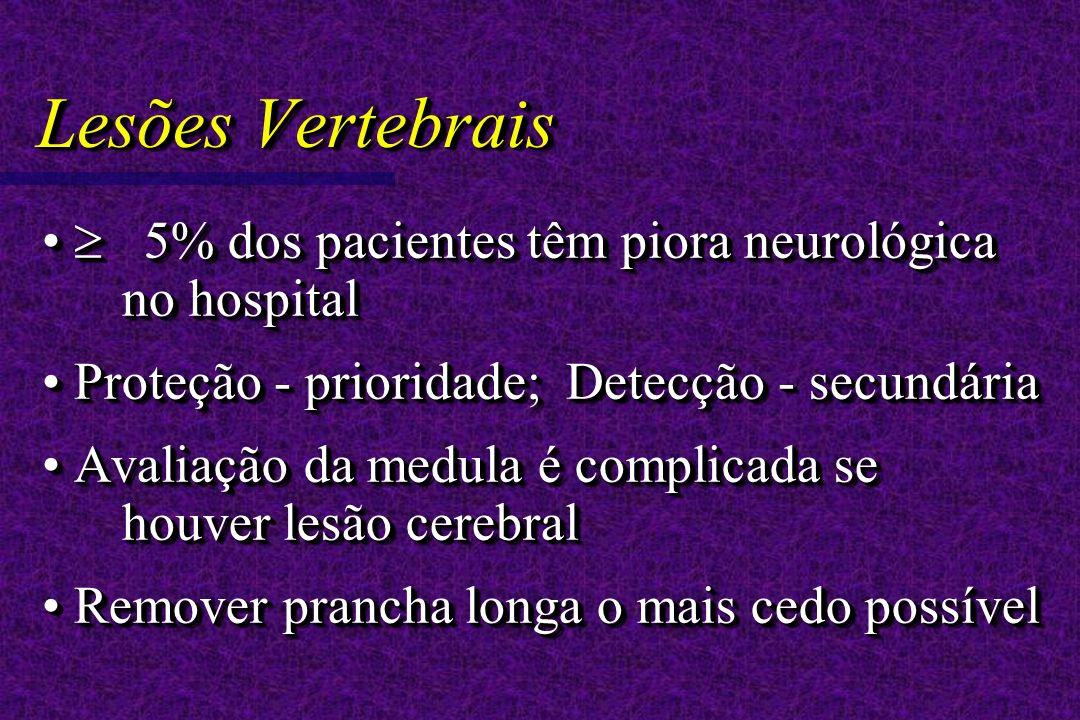 Lesões Vertebrais 5% dos pacientes têm piora neurológica no hospital 5% dos pacientes têm piora neurológica no hospital Proteção - prioridade; Detecção - secundária Proteção - prioridade; Detecção - secundária Avaliação da medula é complicada se houver lesão cerebral Avaliação da medula é complicada se houver lesão cerebral Remover prancha longa o mais cedo possível Remover prancha longa o mais cedo possível 5% dos pacientes têm piora neurológica no hospital 5% dos pacientes têm piora neurológica no hospital Proteção - prioridade; Detecção - secundária Proteção - prioridade; Detecção - secundária Avaliação da medula é complicada se houver lesão cerebral Avaliação da medula é complicada se houver lesão cerebral Remover prancha longa o mais cedo possível Remover prancha longa o mais cedo possível