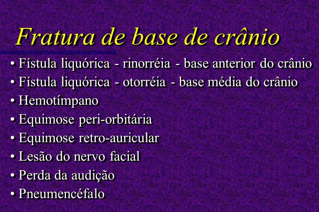 Fístula liquórica - rinorréia - base anterior do crânio Fístula liquórica - rinorréia - base anterior do crânio Fístula liquórica - otorréia - base média do crânio Fístula liquórica - otorréia - base média do crânio Hemotímpano Hemotímpano Equimose peri-orbitária Equimose peri-orbitária Equimose retro-auricular Equimose retro-auricular Lesão do nervo facial Lesão do nervo facial Perda da audição Perda da audição Pneumencéfalo Pneumencéfalo Fístula liquórica - rinorréia - base anterior do crânio Fístula liquórica - rinorréia - base anterior do crânio Fístula liquórica - otorréia - base média do crânio Fístula liquórica - otorréia - base média do crânio Hemotímpano Hemotímpano Equimose peri-orbitária Equimose peri-orbitária Equimose retro-auricular Equimose retro-auricular Lesão do nervo facial Lesão do nervo facial Perda da audição Perda da audição Pneumencéfalo Pneumencéfalo Fratura de base de crânio