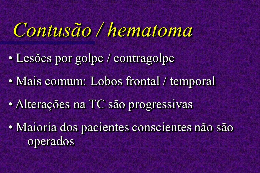 Lesões por golpe / contragolpe Lesões por golpe / contragolpe Mais comum: Lobos frontal / temporal Mais comum: Lobos frontal / temporal Alterações na TC são progressivas Alterações na TC são progressivas Maioria dos pacientes conscientes não são operados Maioria dos pacientes conscientes não são operados Lesões por golpe / contragolpe Lesões por golpe / contragolpe Mais comum: Lobos frontal / temporal Mais comum: Lobos frontal / temporal Alterações na TC são progressivas Alterações na TC são progressivas Maioria dos pacientes conscientes não são operados Maioria dos pacientes conscientes não são operados Contusão / hematoma
