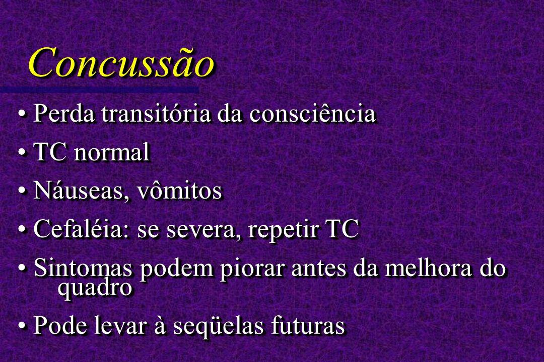 Perda transitória da consciência Perda transitória da consciência TC normal TC normal Náuseas, vômitos Náuseas, vômitos Cefaléia: se severa, repetir TC Cefaléia: se severa, repetir TC Sintomas podem piorar antes da melhora do quadro Sintomas podem piorar antes da melhora do quadro Pode levar à seqüelas futuras Pode levar à seqüelas futuras Perda transitória da consciência Perda transitória da consciência TC normal TC normal Náuseas, vômitos Náuseas, vômitos Cefaléia: se severa, repetir TC Cefaléia: se severa, repetir TC Sintomas podem piorar antes da melhora do quadro Sintomas podem piorar antes da melhora do quadro Pode levar à seqüelas futuras Pode levar à seqüelas futuras ConcussãoConcussão