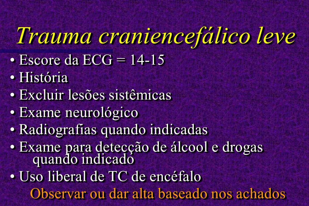Escore da ECG = 14-15 Escore da ECG = 14-15 História História Excluir lesões sistêmicas Excluir lesões sistêmicas Exame neurológico Exame neurológico Radiografias quando indicadas Radiografias quando indicadas Exame para detecção de álcool e drogas quando indicado Exame para detecção de álcool e drogas quando indicado Uso liberal de TC de encéfalo Uso liberal de TC de encéfalo Observar ou dar alta baseado nos achados Escore da ECG = 14-15 Escore da ECG = 14-15 História História Excluir lesões sistêmicas Excluir lesões sistêmicas Exame neurológico Exame neurológico Radiografias quando indicadas Radiografias quando indicadas Exame para detecção de álcool e drogas quando indicado Exame para detecção de álcool e drogas quando indicado Uso liberal de TC de encéfalo Uso liberal de TC de encéfalo Observar ou dar alta baseado nos achados Trauma craniencefálico leve