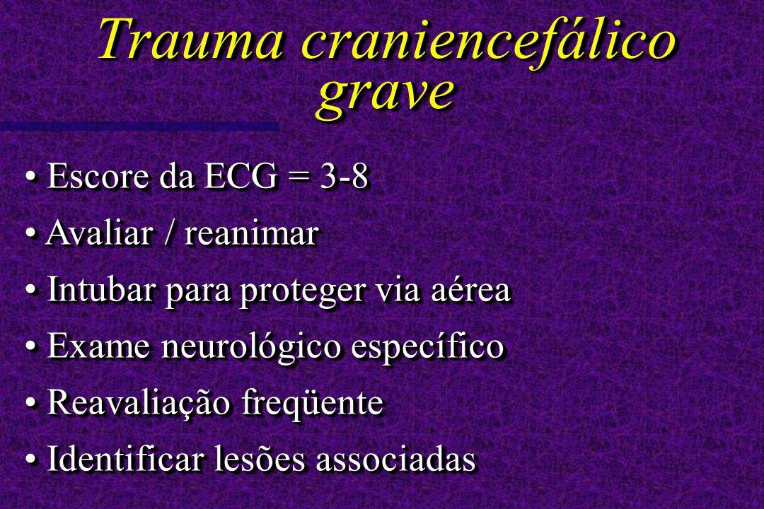 Escore da ECG = 3-8 Escore da ECG = 3-8 Avaliar / reanimar Avaliar / reanimar Intubar para proteger via aérea Intubar para proteger via aérea Exame ne